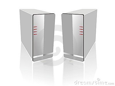 Two side by side white server