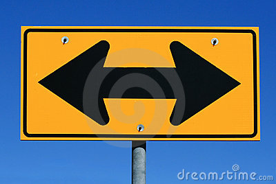 Two sided arrow road sign