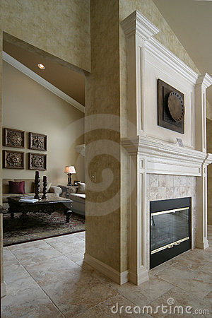 Two sided fireplace and living room