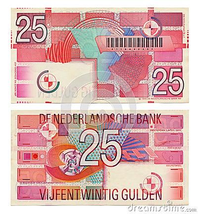 Discontinued Dutch Money - 25 Gulden