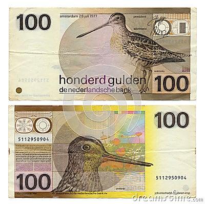 Discontinued Dutch Money - 100 Gulden
