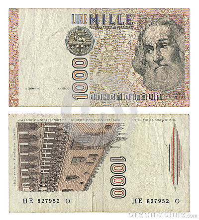 Discontinued Italian 1000 Lire Money Note