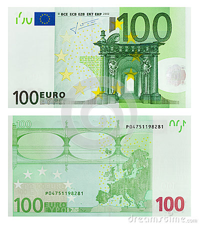 Free Two Sides Of 100 Euro Banknote Royalty Free Stock Photos - 52368278