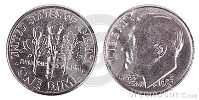 Isolated Dime - Both Sides Frontal