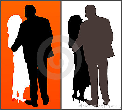 Two silhouettes of  a couple