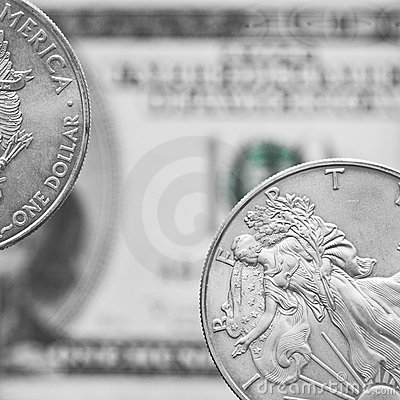 Two silver dollar coins