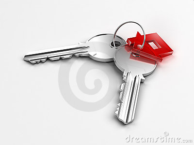 Two silver keys with red house figure
