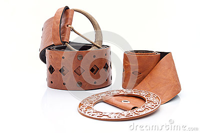 Two similar Lady s leather stylish belt