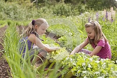 Two sisters in garden