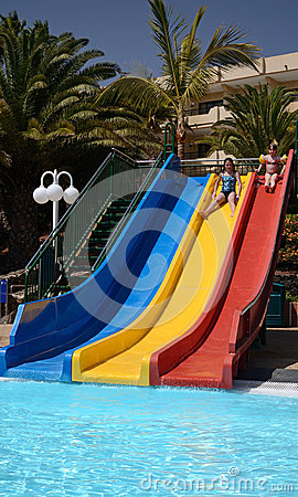 Two sisters on the water slide
