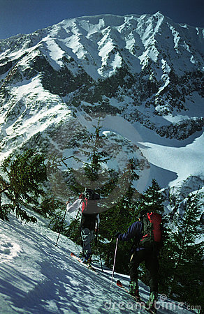Two Skiers Climbing