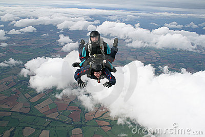 Two skydivers having fun