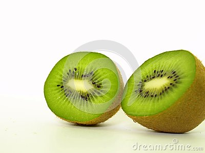 Two sliced kiwis