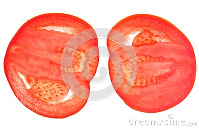 Two slices of red tomato