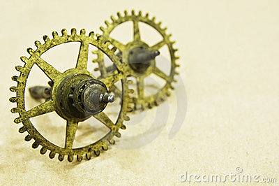 Two small bronze cogs