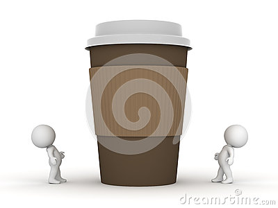 Two Small 3D Characters Looking Up at Large Coffee Cup Stock Photo