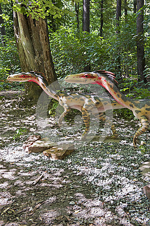 Two small dinosaurs