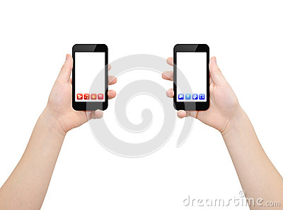 Two smartphones in two hands