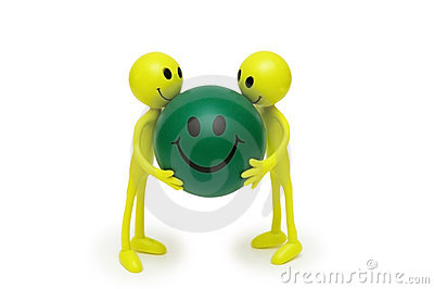 Two smilies holding ball