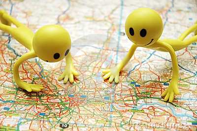 Two Smilies over the map