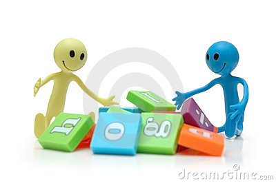 Two smilies playing with alphabet