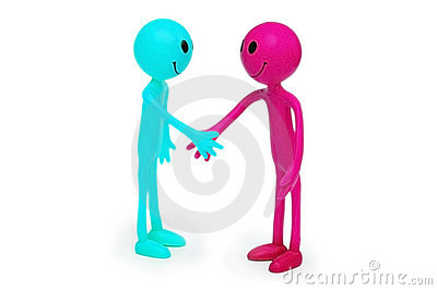 Two smilies shaking hands