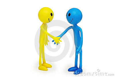Two smilies shaking hands isolated
