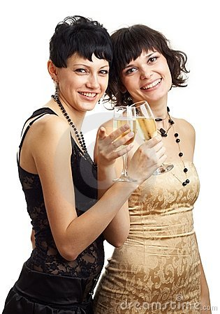 Two smiling gils with wine