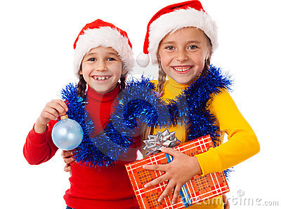 Two smiling girls with Christmas decoration