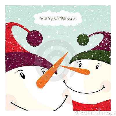Free Two Snowman_card Royalty Free Stock Photography - 18662507