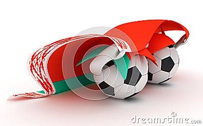 Two soccer balls hold Belarus flag