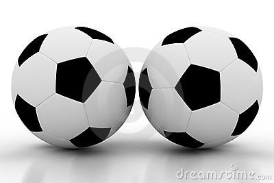 Two soccer balls on white