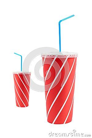 Two soda drinks with straw