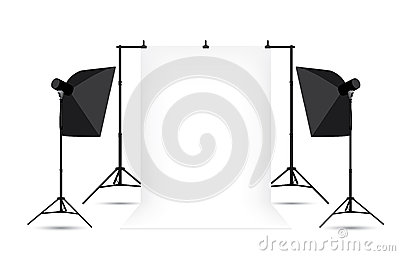 Two softboxes and white photo background