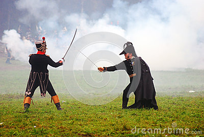 Two soldiers fighting in the fume Editorial Photography