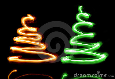 Two sparkler Christmas trees