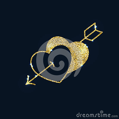 Free Two Sparkling Gold Hearts Pierced By An Arrow. Glitter Textured Royalty Free Stock Photo - 82402715