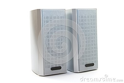 Two speakers on white