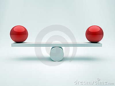 Two spheres in equilibrium