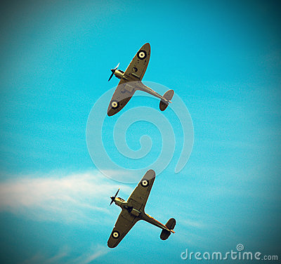 Free Two Spitfires Flying In Formation Royalty Free Stock Photo - 56304395