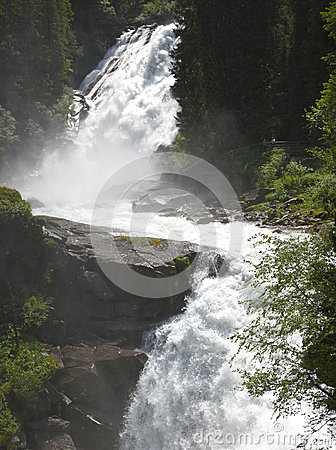Free Two Stages Of The Krimml Waterfall, Austria Royalty Free Stock Photo - 32636505