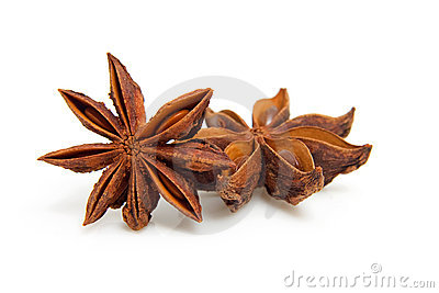 Two star anise in closeup
