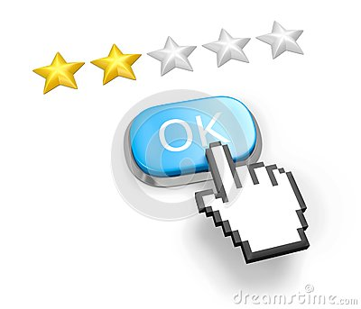 Two stars rating. Button OK and hand cursor.