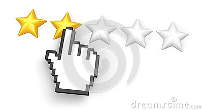 Two stars rating. Hand cursor.