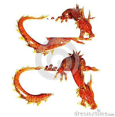 Two statues dragons of jasper