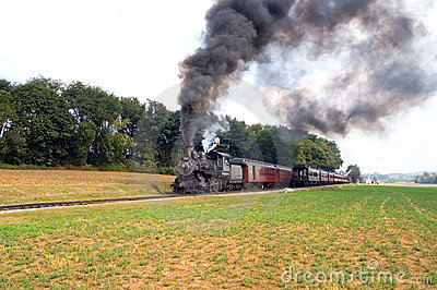 Two steam trains passing