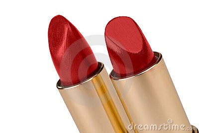 Two sticks of red lipstick