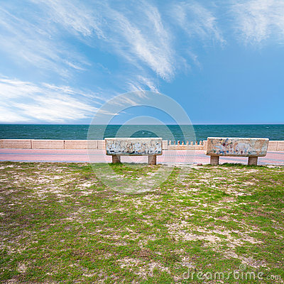 Free Two Stone Benches On Coast Of Persian Gulf Royalty Free Stock Image - 42976296