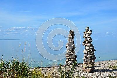 Two stone piles