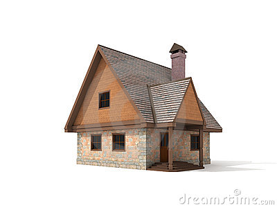 Two storey stone house on white background